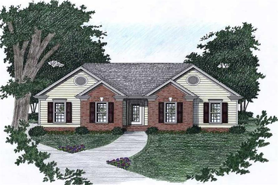 3-Bedroom, 1071 Sq Ft European Home Plan - 102-1022 - Main Exterior