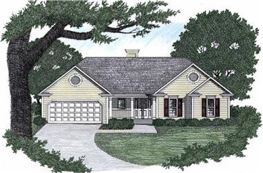 3-Bedroom, 1291 Sq Ft Ranch Home Plan - 102-1023 - Main Exterior