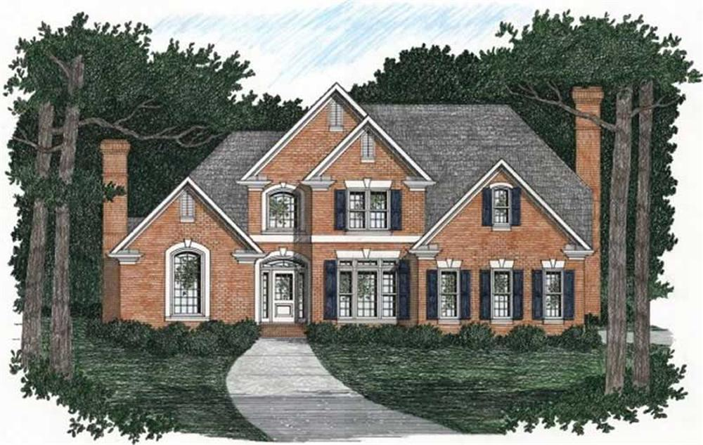 Front elevation of European home (ThePlanCollection: House Plan #102-1026)