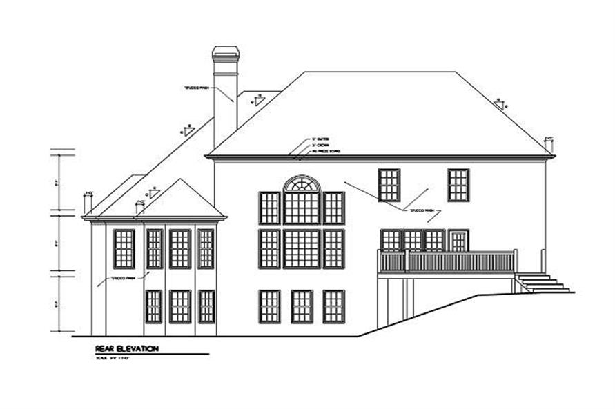 Home Plan Rear Elevation of this 4-Bedroom,3445 Sq Ft Plan -102-1030
