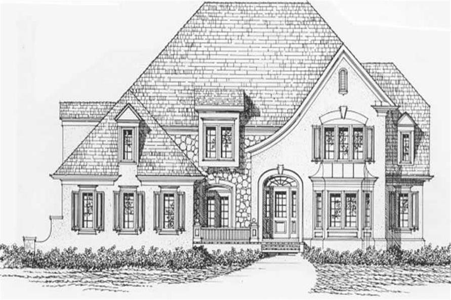 4-Bedroom, 3326 Sq Ft European Home Plan - 102-1031 - Main Exterior