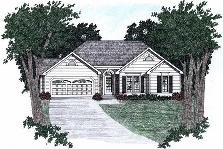 3-Bedroom, 1358 Sq Ft Ranch Home Plan - 102-1045 - Main Exterior