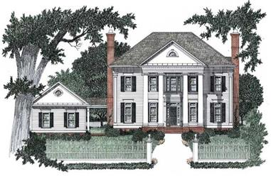 4-Bedroom, 3435 Sq Ft Colonial Home Plan - 102-1050 - Main Exterior