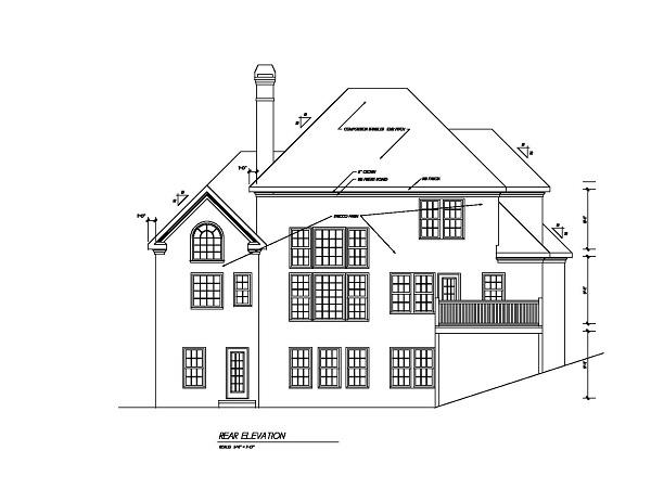 105-1051 house plan rear elevation