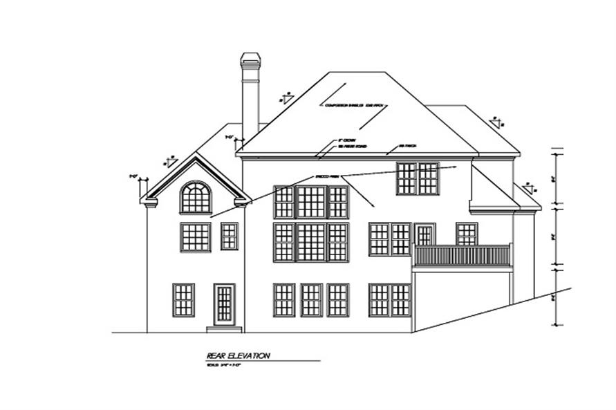 Home Plan Rear Elevation of this 3-Bedroom,2256 Sq Ft Plan -102-1051