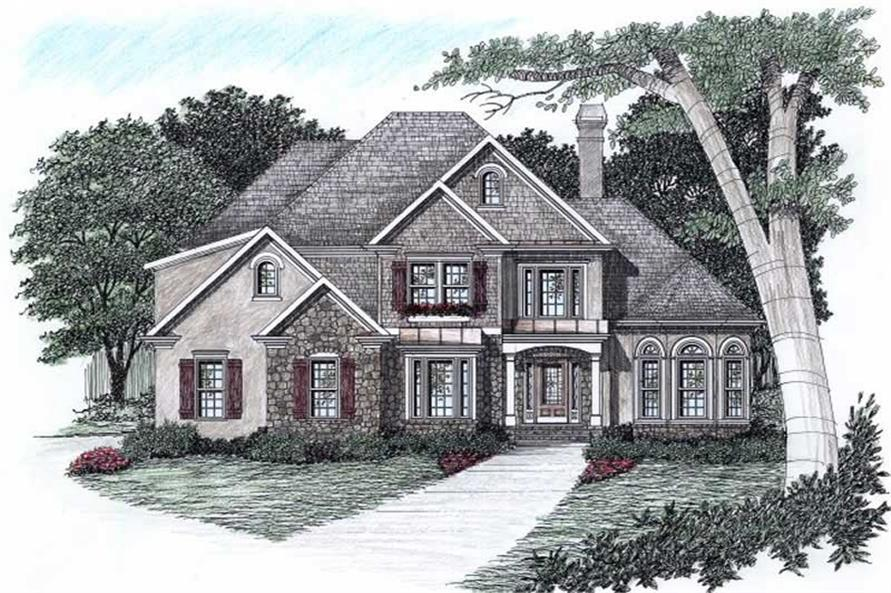 3-Bedroom, 2256 Sq Ft European Home Plan - 102-1051 - Main Exterior