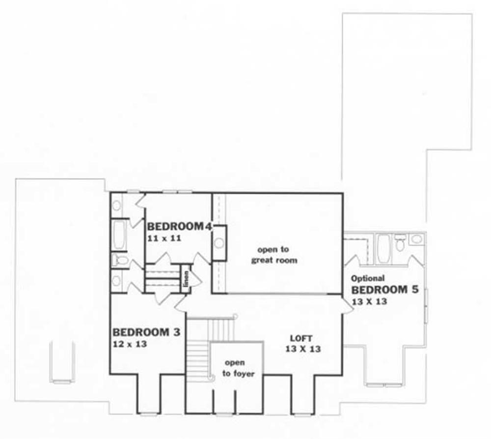 Upper Level Home Plan