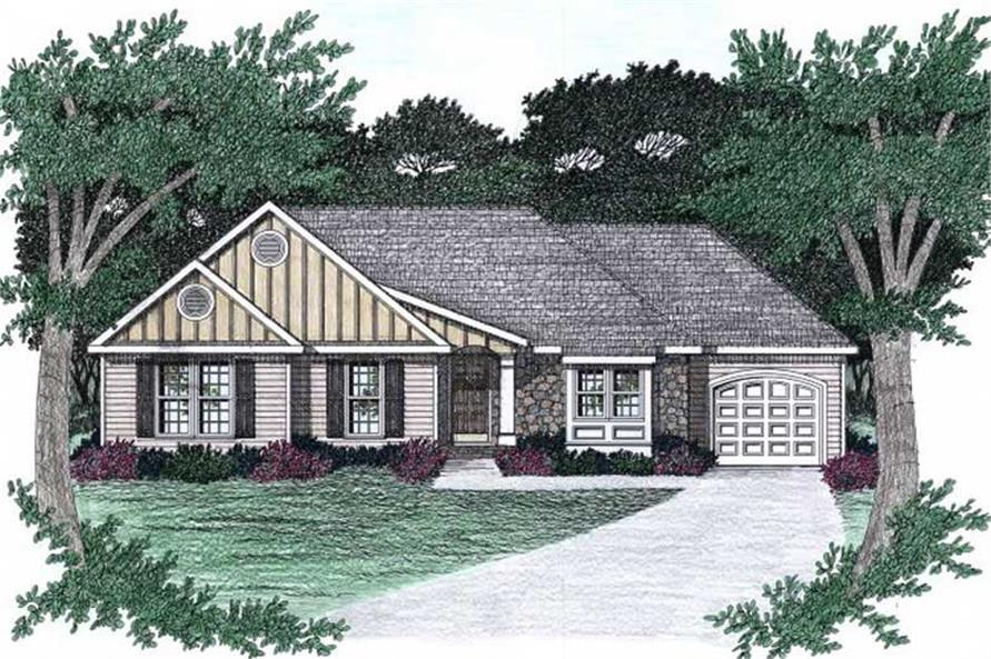 3-Bedroom, 1303 Sq Ft Ranch Home Plan - 102-1058 - Main Exterior