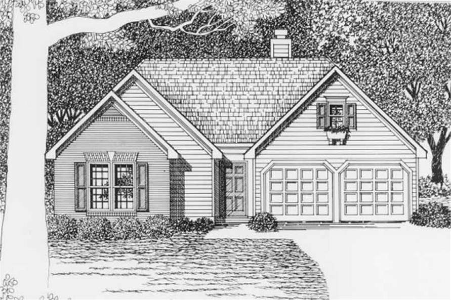 3-Bedroom, 1299 Sq Ft Ranch Home Plan - 102-1063 - Main Exterior