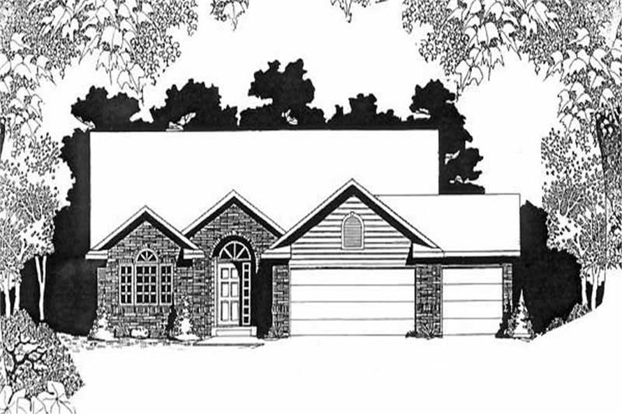 Front elevation of Ranch home (ThePlanCollection: House Plan #103-1000)