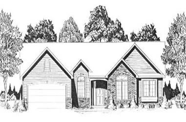 3-Bedroom, 1504 Sq Ft Ranch Home Plan - 103-1002 - Main Exterior