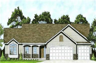 3-Bedroom, 1465 Sq Ft Ranch House Plan - 103-1004 - Front Exterior