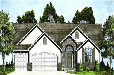 3-Bedroom, 1551 Sq Ft Ranch Home Plan - 103-1005 - Main Exterior