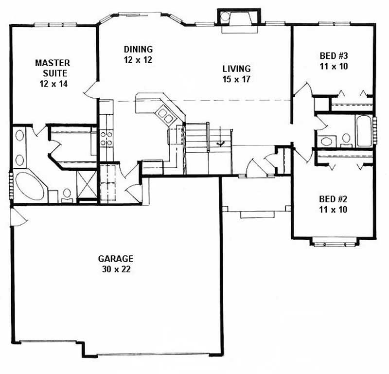 Ranch Home With 3 Bdrms 1341 Sq Ft House Plan 103 1007