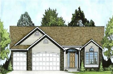 3-Bedroom, 1341 Sq Ft Ranch Home Plan - 103-1007 - Main Exterior