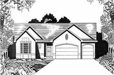 3-Bedroom, 1436 Sq Ft Ranch Home Plan - 103-1008 - Main Exterior