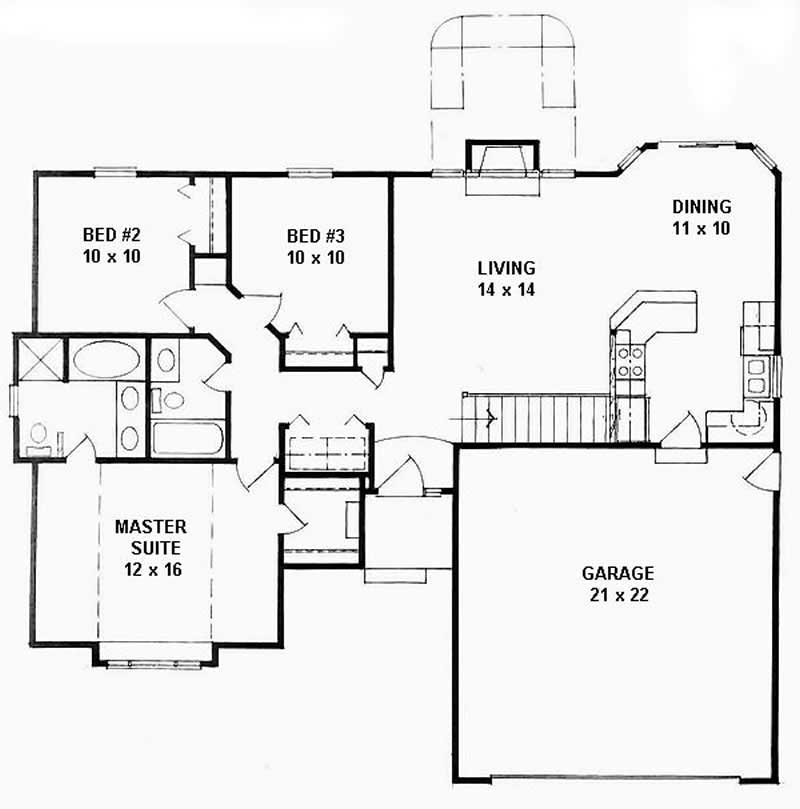 ranch home with 3 bdrms 1162 sq ft house plan 103 1009 tpc. Black Bedroom Furniture Sets. Home Design Ideas