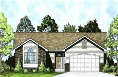 3-Bedroom, 1162 Sq Ft Ranch House Plan - 103-1009 - Front Exterior