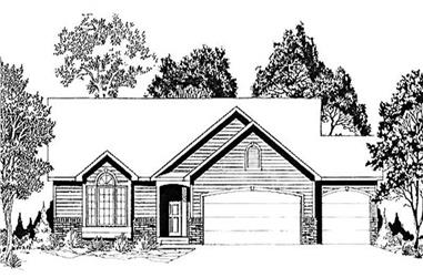 3-Bedroom, 1424 Sq Ft Ranch House Plan - 103-1010 - Front Exterior