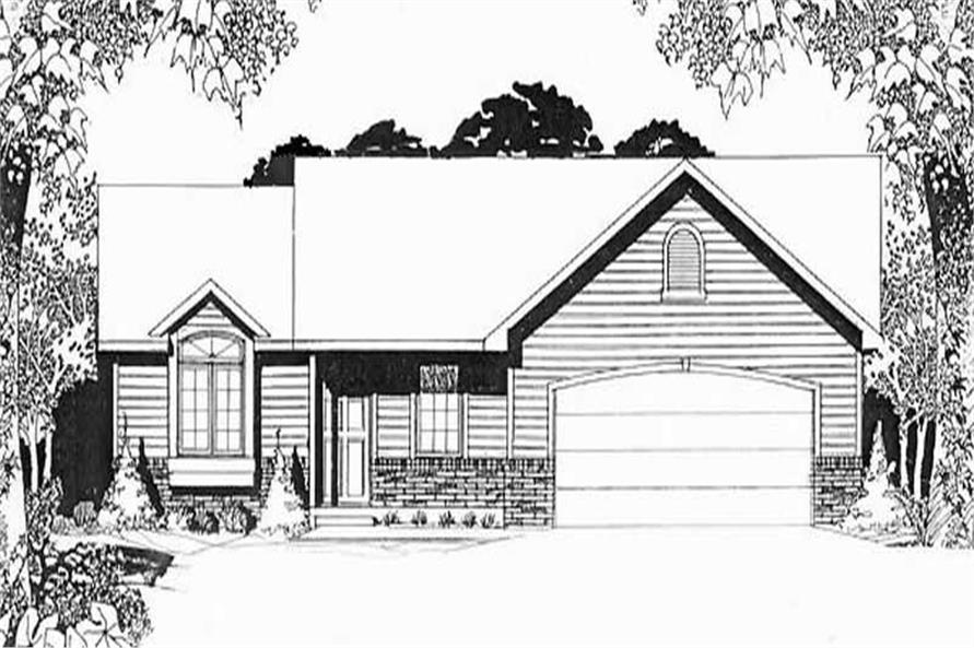 3-Bedroom, 1190 Sq Ft Ranch Home Plan - 103-1011 - Main Exterior