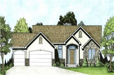 3-Bedroom, 1336 Sq Ft Ranch Home Plan - 103-1015 - Main Exterior