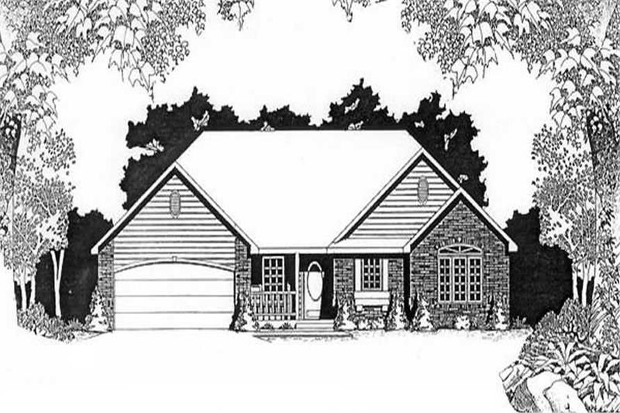 2-Bedroom, 1285 Sq Ft Ranch Home Plan - 103-1016 - Main Exterior
