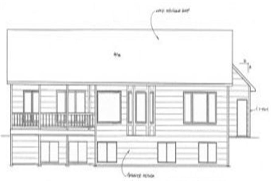 Home Plan Rear Elevation of this 3-Bedroom,2002 Sq Ft Plan -103-1018