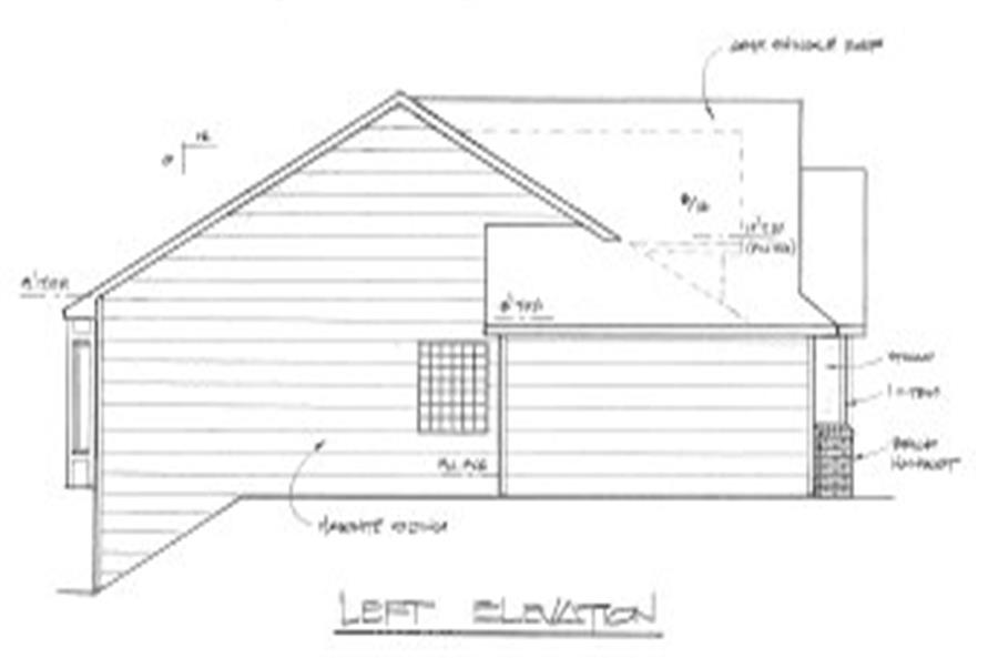 Home Plan Left Elevation of this 3-Bedroom,2002 Sq Ft Plan -103-1018