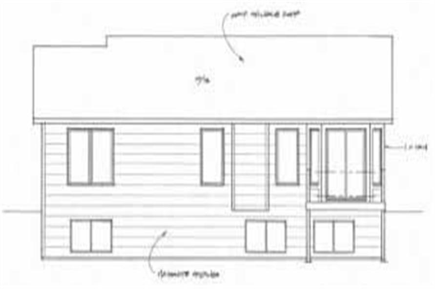 Home Plan Rear Elevation of this 2-Bedroom,995 Sq Ft Plan -103-1021