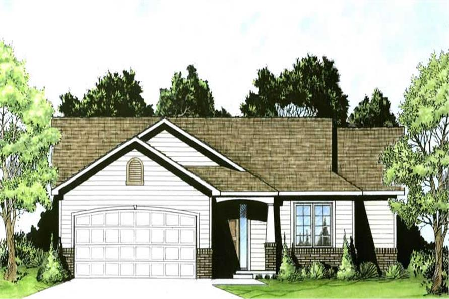 2-Bedroom, 995 Sq Ft Small House Plans - 103-1021 - Front Exterior