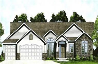 3-Bedroom, 1587 Sq Ft Small House Plans - 103-1022 - Front Exterior