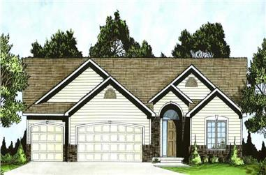 3-Bedroom, 1295 Sq Ft Ranch Home Plan - 103-1024 - Main Exterior