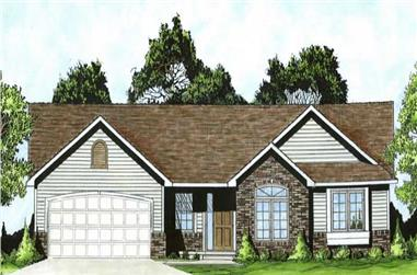 3-Bedroom, 1248 Sq Ft Ranch Home Plan - 103-1026 - Main Exterior