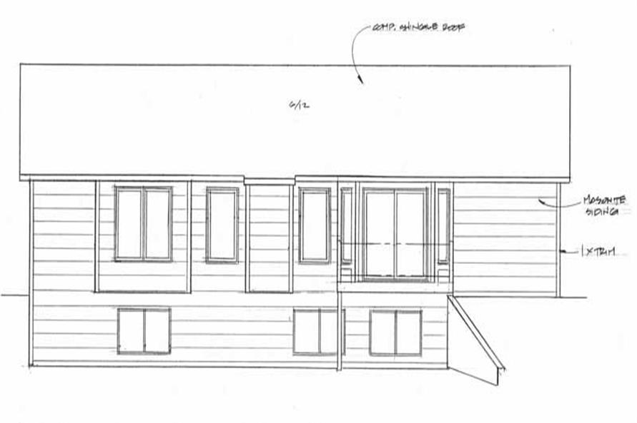 Home Plan Rear Elevation of this 3-Bedroom,1248 Sq Ft Plan -103-1026