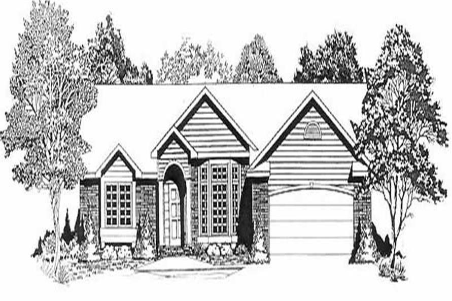 3-Bedroom, 1704 Sq Ft Ranch House Plan - 103-1027 - Front Exterior