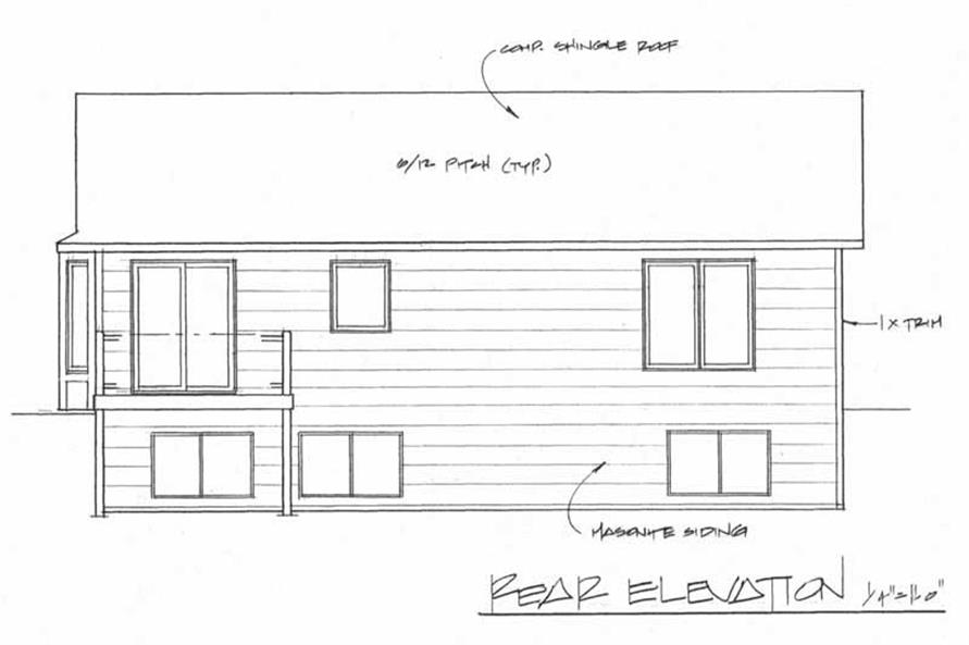 Home Plan Rear Elevation of this 2-Bedroom,926 Sq Ft Plan -103-1028