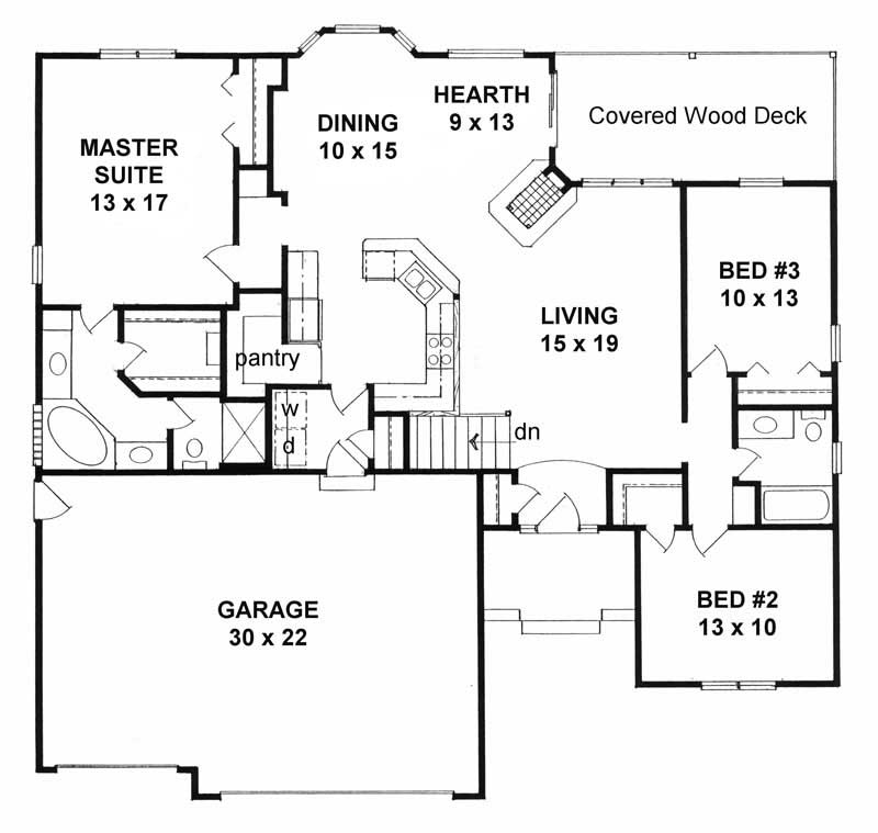 Small home with 3 bdrms 1651 sq ft floor plan 103 1029 for Sq ft of 2 car garage