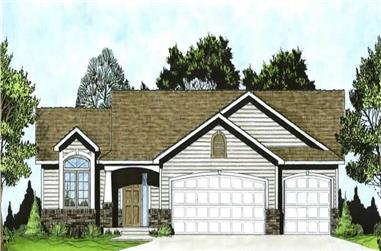 3-Bedroom, 1296 Sq Ft Ranch Home Plan - 103-1031 - Main Exterior