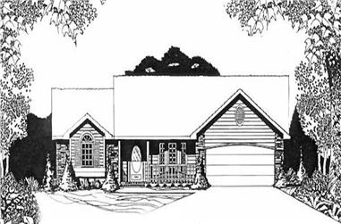 3-Bedroom, 1526 Sq Ft Ranch Home Plan - 103-1034 - Main Exterior