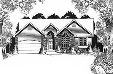 3-Bedroom, 1457 Sq Ft Ranch Home Plan - 103-1035 - Main Exterior