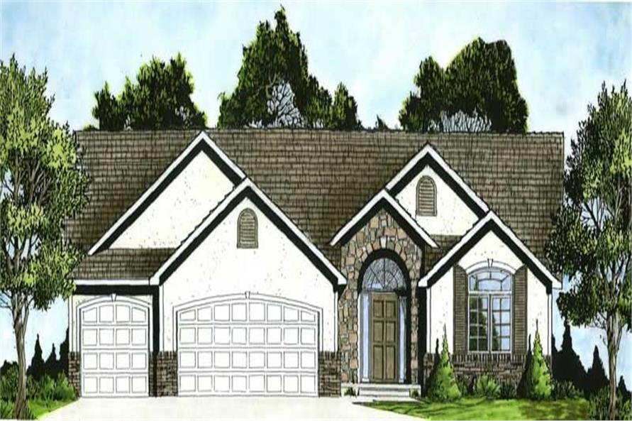 3-Bedroom, 1451 Sq Ft Ranch Home Plan - 103-1036 - Main Exterior