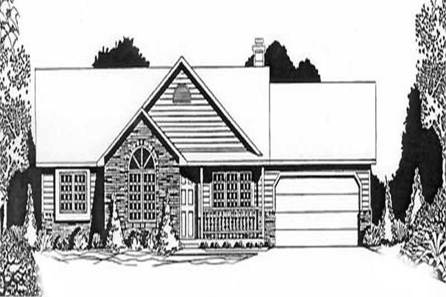 3-Bedroom, 1410 Sq Ft Ranch House Plan - 103-1037 - Front Exterior