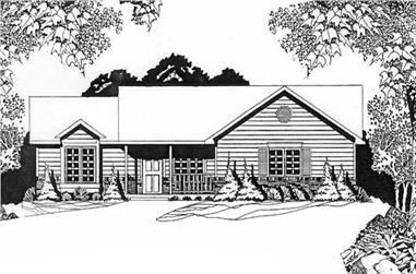 3-Bedroom, 1271 Sq Ft Ranch House Plan - 103-1042 - Front Exterior