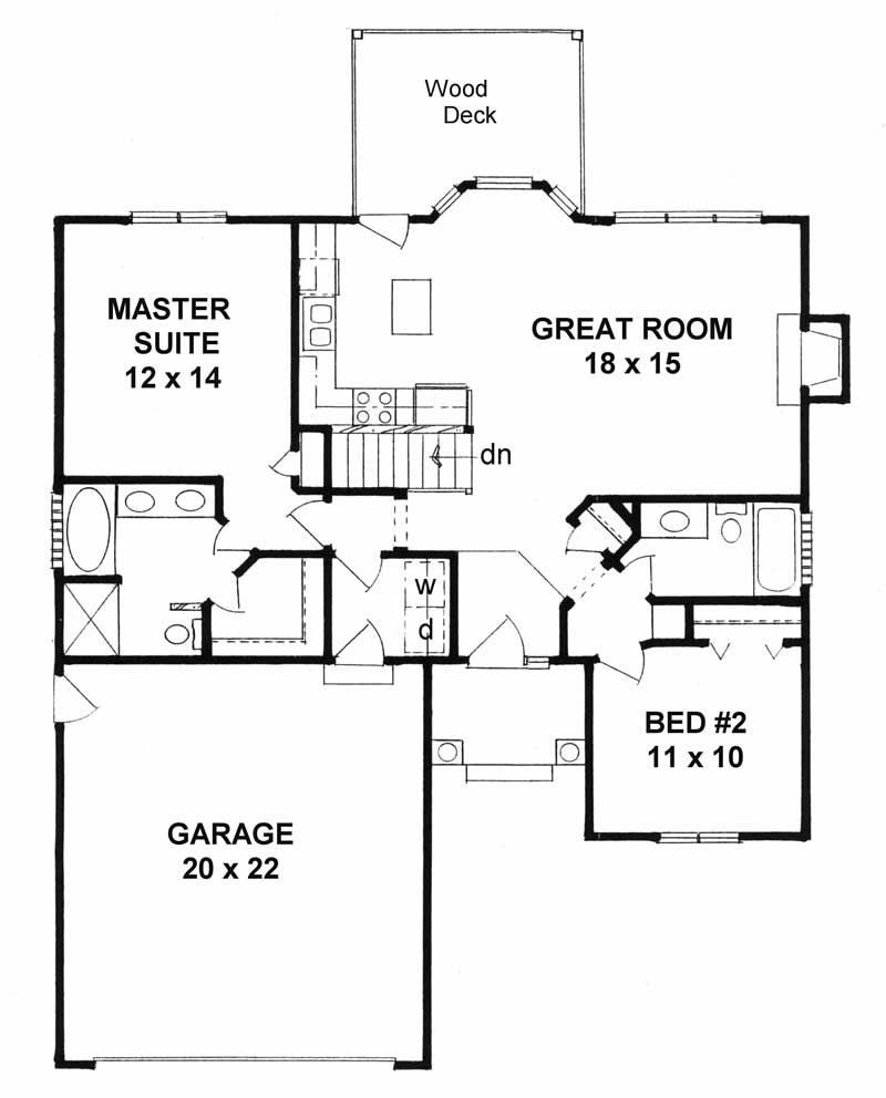 Small house plans home plan 2 bedrms 2 baths 1091 sq for 2 bedroom house plans with garage and basement