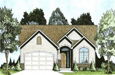 2-Bedroom, 1091 Sq Ft Small House Plans - 103-1044 - Front Exterior