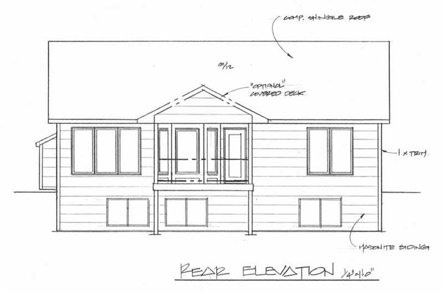 Home Plan Rear Elevation of this 2-Bedroom,1091 Sq Ft Plan -103-1044