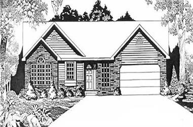 3-Bedroom, 1594 Sq Ft Ranch House Plan - 103-1047 - Front Exterior
