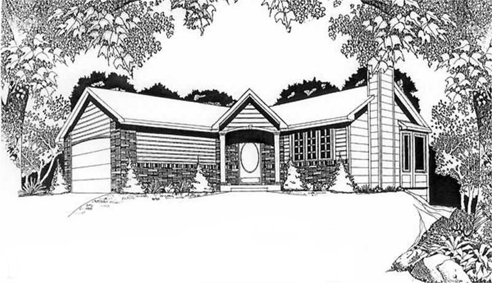Front elevation of Ranch home (ThePlanCollection: House Plan #103-1048)