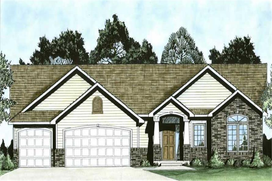 3-Bedroom, 1464 Sq Ft Ranch Home Plan - 103-1050 - Main Exterior