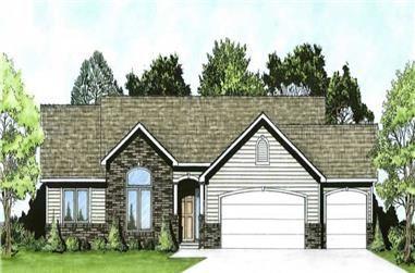 3-Bedroom, 1483 Sq Ft Ranch House Plan - 103-1052 - Front Exterior